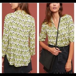 Anthropologie Pintuck Cat Print Buttondown Size 6